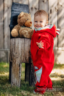 Bear Romper - size 80 - red with Little Herringbone Impression