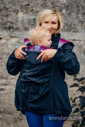 Babywearing Coat - Softshell - Black with Little Herringbone Inspiration - size S (grade B)