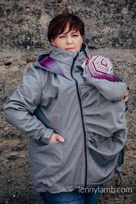 Babywearing Coat - Softshell - Gray Melange with Little Herringbone Inspiration - size 3XL