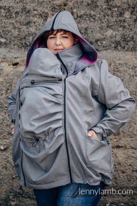 Babywearing Coat - Softshell - Gray Melange with Little Herringbone Inspiration - size 5XL (grade B)