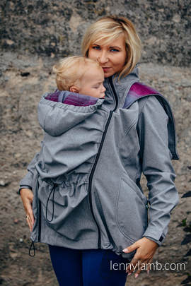 Babywearing Coat - Softshell - Gray Melange with Little Herringbone Inspiration - size XS