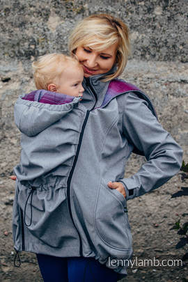 Babywearing Coat - Softshell - Gray Melange with Little Herringbone Inspiration - size M