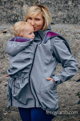 Babywearing Coat - Softshell - Gray Melange with Little Herringbone Inspiration - size L