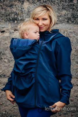 Babywearing Coat - Softshell - Navy Blue with Little Herringbone Illusion - size XS