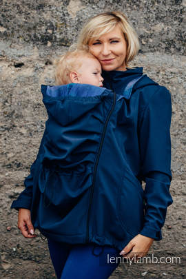 Babywearing Coat - Softshell - Navy Blue with Little Herringbone Illusion - size S