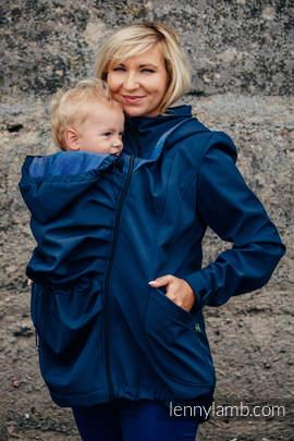 Babywearing Coat - Softshell - Navy Blue with Little Herringbone Illusion - size L