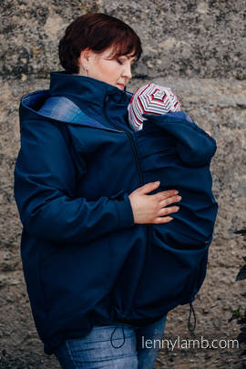 Babywearing Coat - Softshell - Navy Blue with Little Herringbone Illusion - size 3XL