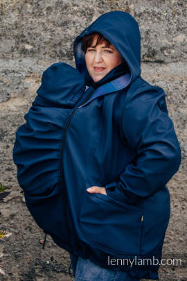 Babywearing Coat - Softshell - Navy Blue with Little Herringbone Illusion - size 6XL