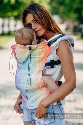 Nosidełko Ergonomiczne z tkaniny żakardowej 100% bawełna , Baby Size, SYMFONIA TĘCZOWA LIGHT - Druga Generacja