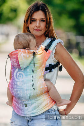 Ergonomic Carrier, Toddler Size, jacquard weave 100% cotton - wrap conversion from SYMPHONY RAINBOW LIGHT - Second Generation (grade B)