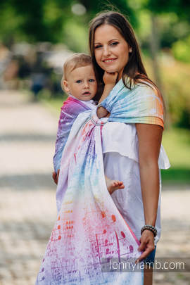 Ringsling, Jacquard Weave (100% cotton) - with gathered shoulder - SYMPHONY RAINBOW LIGHT