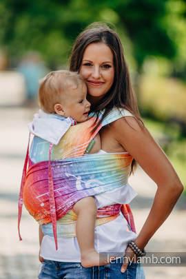 Nosidełko dla dzieci WRAP-TAI MINI, bawełna, splot żakardowy, z kapturkiem, SYMFONIA TĘCZOWA LIGHT