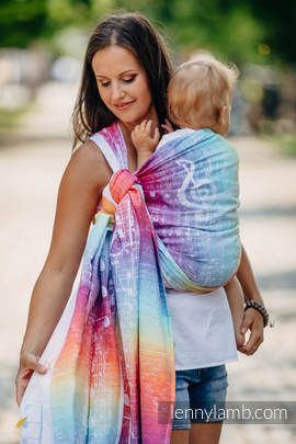 Baby Wrap, Jacquard Weave (100% cotton) - SYMPHONY RAINBOW LIGHT - size L