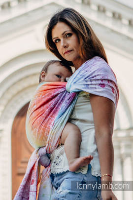 Baby Wrap, Jacquard Weave (100% cotton) - SYMPHONY RAINBOW LIGHT - size M
