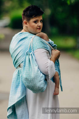 Sackpack made of wrap fabric (100% cotton) - BIG LOVE - ICE MINT - standard size 32cmx43cm (grade B)
