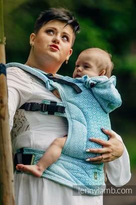 Nosidełko Ergonomiczne z tkaniny żakardowej 100% bawełna , Baby Size, BIG LOVE - MROŻONA MIĘTA - Druga Generacja