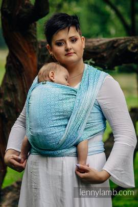 Baby Wrap, Jacquard Weave (100% cotton) - BIG LOVE - ICE MINT - size XS (grade B)
