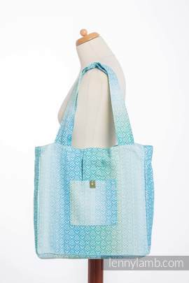 Shoulder bag made of wrap fabric (100% cotton) - BIG LOVE - ICE MINT - standard size 37cmx37cm