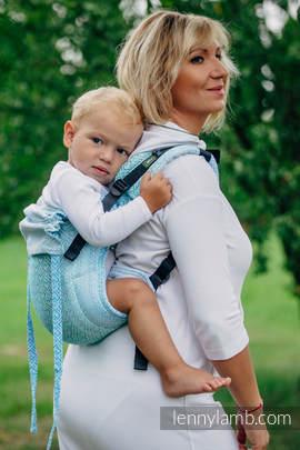 Nosidło Klamrowe ONBUHIMO z tkaniny żakardowej (100% bawełna), rozmiar Standard - BIG LOVE - MROŻONA MIĘTA