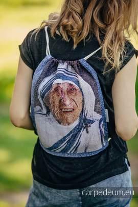 Plecak/worek z materiału żakardowego, (100% bawełna) - MATKA TERESA - uniwersalny rozmiar 35cmx45cm