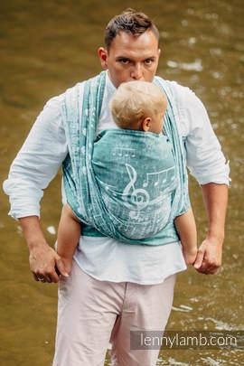 Żakardowa chusta do noszenia dzieci, 60% Bawełna 28% Len 12% Jedwab Tussah - LEŚNA SYMFONIA - rozmiar S