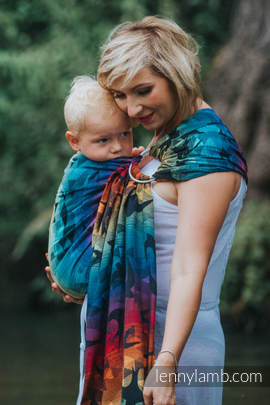 Ringsling, Jacquard Weave (100% cotton) - with gathered shoulder - SWALLOWS RAINBOW DARK (grade B)