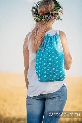 Plecak/worek z materiału żakardowego, (100% bawełna) - ICHTYS - NIEBIESKI - uniwersalny rozmiar 35cmx45cm
