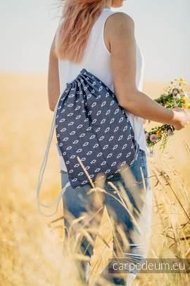 Plecak/worek z materiału żakardowego, (100% bawełna) - ICHTYS - GRAFITOWY - uniwersalny rozmiar 35cmx45cm