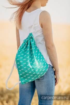 Plecak/worek z materiału żakardowego, (100% bawełna) - ICHTYS - ZIELONY- uniwersalny rozmiar 35cmx45cm