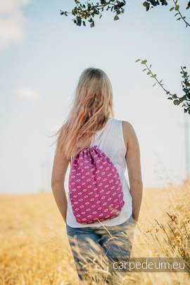 Plecak/worek z materiału żakardowego, (100% bawełna) - ICHTYS - RÓŻOWY - uniwersalny rozmiar 35cmx45cm