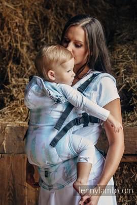 Nosidełko Ergonomiczne z tkaniny żakardowej 100% bawełna , Toddler Size, MALOWANE PIÓRA BIEL Z TURKUSEM - Druga Generacja (drugi gatunek)