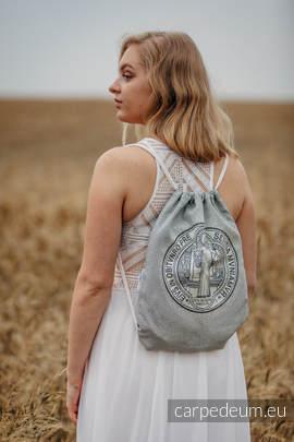 Plecak/worek z materiału żakardowego, (100% bawełna) - BENEDYKT - uniwersalny rozmiar 35cmx45cm