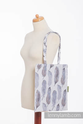 Shopping bag made of wrap fabric (100% cotton) - PAINTED FEATHERS WHITE & NAVY BLUE (grade B)