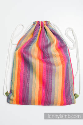 Sackpack made of wrap fabric (60% cotton 40% bamboo) - SUNSET RAINBOW - standard size 32cmx43cm