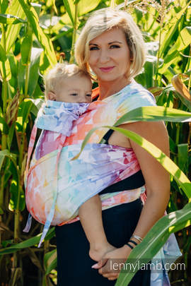 WRAP-TAI carrier Mini with hood/ jacquard twill / 100% cotton / SWALLOWS RAINBOW LIGHT