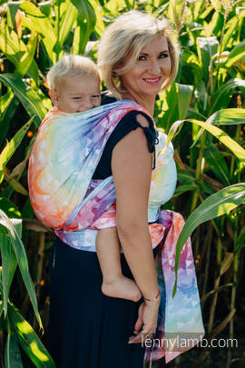 Baby Wrap, Jacquard Weave (100% cotton) - SWALLOWS RAINBOW LIGHT - size XS