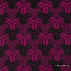 TRINITY MAGENTA & BLACK, fabric quarters, jacquard, size 50cm x 70cm - OUTLET