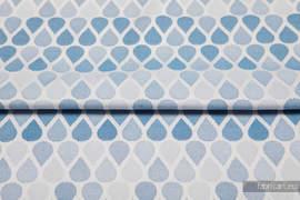 KROPLE NIEBIESKI, ćwiartka tkaniny, splot żakardowy, rozmiar 50cm x 70cm