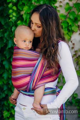 Baby Wrap, Herringbone Weave (100% cotton) - LITTLE HERRINGBONE RASPBERRY GARDEN - size M