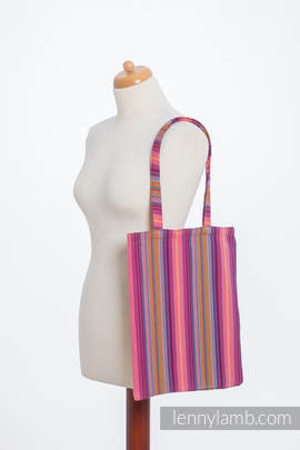 Shopping bag made of wrap fabric (100% cotton) - LITTLE HERRINGBONE RASPBERRY GARDEN