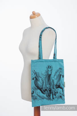 Shopping bag made of wrap fabric (100% cotton) - GALLOP BLACK & TURQUOISE