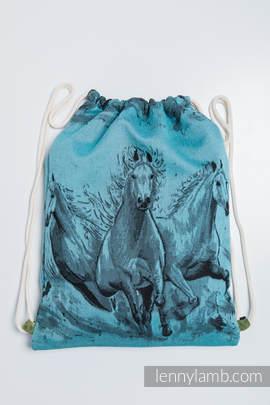 Turnbeutel, hergestellt vom gewebten Stoff (100% Baumwolle) - GALLOP SCHWARZ & TÜRKIS - Standard Größe 32cmx43cm
