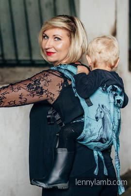 Nosidło Klamrowe ONBUHIMO z tkaniny żakardowej (100% bawełna), rozmiar Toddler - GALOP CZARNY Z TURKUSEM