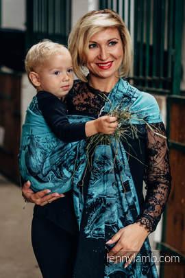 Żakardowa chusta kółkowa do noszenia dzieci, bawełna - GALOP CZARNY Z TURKUSEM (drugi gatunek)