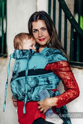Nosidełko dla dzieci WRAP-TAI MINI, bawełna, splot żakardowy, z kapturkiem, GALOP CZARNY Z TURKUSEM