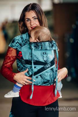 WRAP-TAI Tragehilfe Toddler mit Kapuze/ Jacquardwebung / 100% Baumwolle / GALLOP SCHWARZ & TÜRKIS