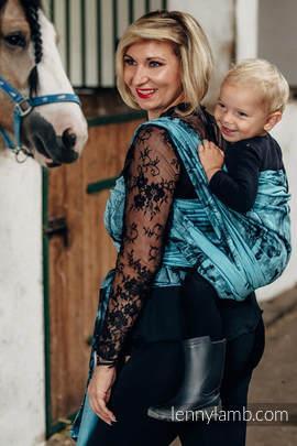 Żakardowa chusta do noszenia dzieci, bawełna - GALOP CZARNY Z TURKUSEM - rozmiar XS