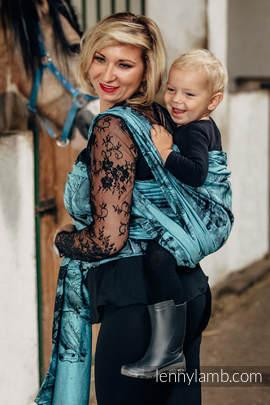 Żakardowa chusta do noszenia dzieci, bawełna - GALOP CZARNY Z TURKUSEM - rozmiar M (drugi gatunek)