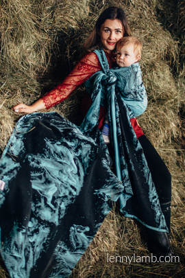 Żakardowa chusta do noszenia dzieci, bawełna - GALOP CZARNY Z TURKUSEM - rozmiar S