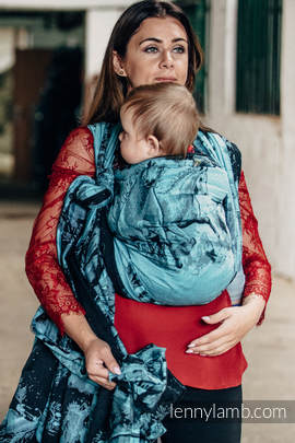 Żakardowa chusta do noszenia dzieci, bawełna - GALOP CZARNY Z TURKUSEM - rozmiar L (drugi gatunek)